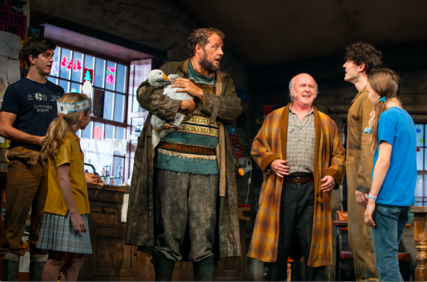 Niall Wright, Matilda Lawler, Justin Edwards, Mark Lambert, Fra Fee, and Willow McCarthy in The Ferryman. Credit: Joan Marcus