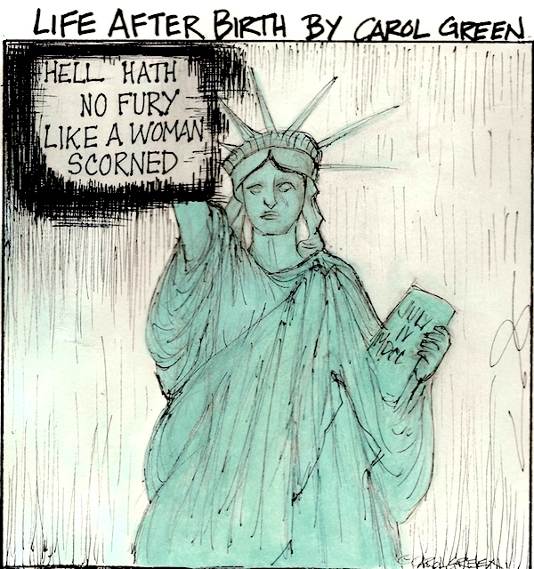 Recent events are beyond shocking. They reveal the disdain of misogyny perpetuated by a totally mad so-called President and now the second sexual predator to serve on the Supreme Court. This is a Supreme Farce. Lady Liberty is not happy. She's considering moving back to France. I'm going with her. Yes, Hell hath no fury like a woman scorned. We are revving up to turn the tide. Vote.