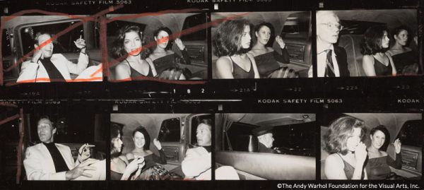 Detail from Contact Sheet [Andy Warhol, Bianca Jagger, Halston, Diane de Beauvau, Bethann Hardison in the back of a limousine], 1976