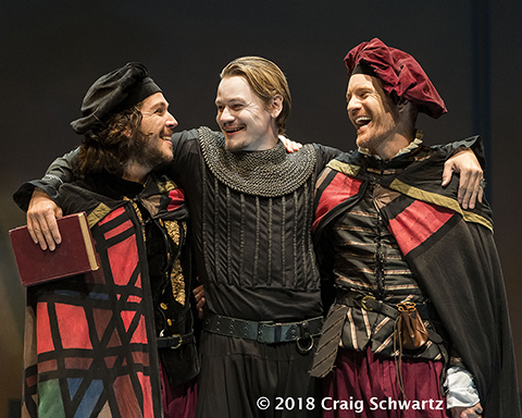 l-r. Rafael Goldstein, Paul David Story, and Kasey Mahaffy in Rosencrantz and Guildenstern Are Dead.
