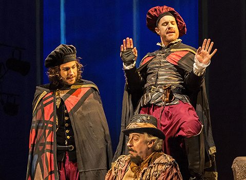 l-r, Rafael Goldstein, Wesley Mann, and Kasey Mahaffy in Rosencrantz and Guildensern Are Dead at A Noise Within.