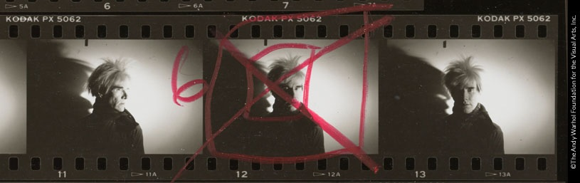 Andy Warhol, Detail from Contact Sheet [Photo shoot with Andy Warhol with shadow], 1986.