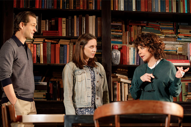 Hugh Dancy, Talene Monahon, and Stockard Channing in Apologia. Credit: Joan Marcus