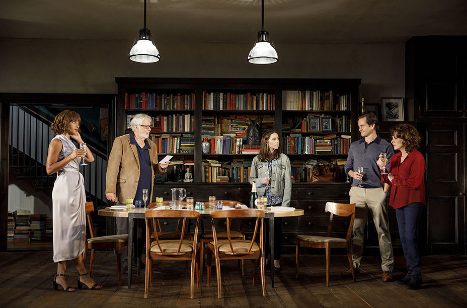 Megalyn Echikunwoke, John Tillinger, Talene Monahon, Hugh Dancy, and Stockard Channing in Apologia. Credit: Joan Marcus