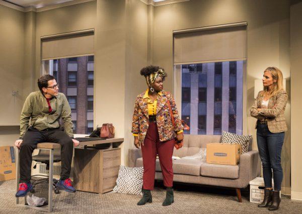 l-r, Dan Bucatinsky, Shoniqua Shandai & Jessalyn Gilsig in Quack at the Kirk Douglas Theatre.