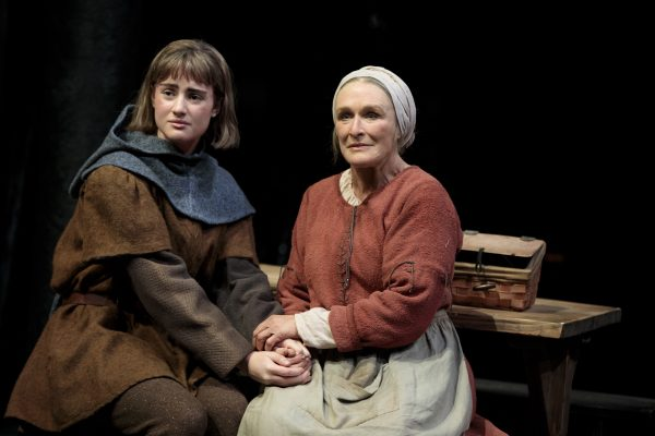 Grace Van Patten and Glenn Close in Mother of the Maid. Credit: Joan Marcus