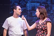 Adam ebowitz-Lockard & Vanessa Claire Stewart in Finks at Rogue Machine Theatre.