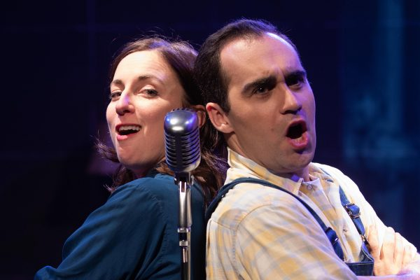 Vaness Claire Stewart & Adam Lebowitz-Lockard in Finks at Rogue Machine Theatre.