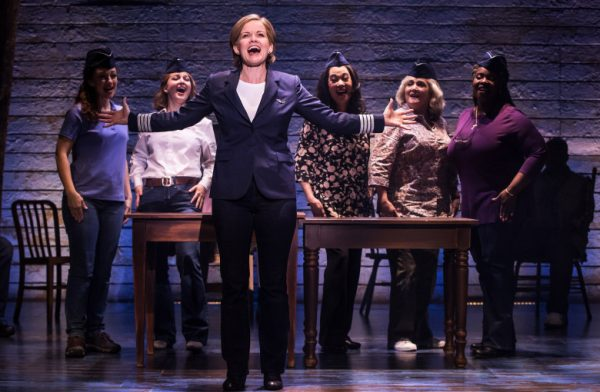 Betty Gulsvig, foreground, as Beverley, with the company of Come From Away at The Ahmanson Theatre.