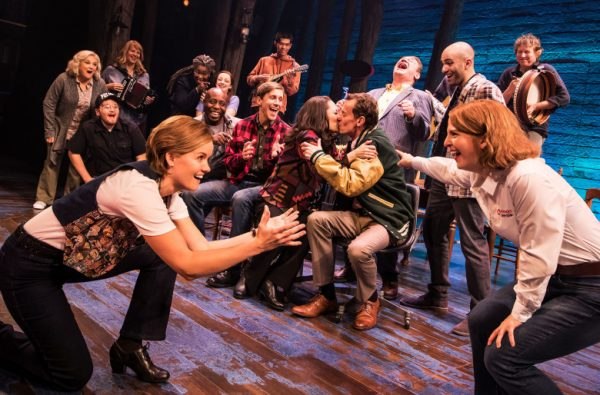 The ensemble company of Come From Away at The Ahmanson Theatre.