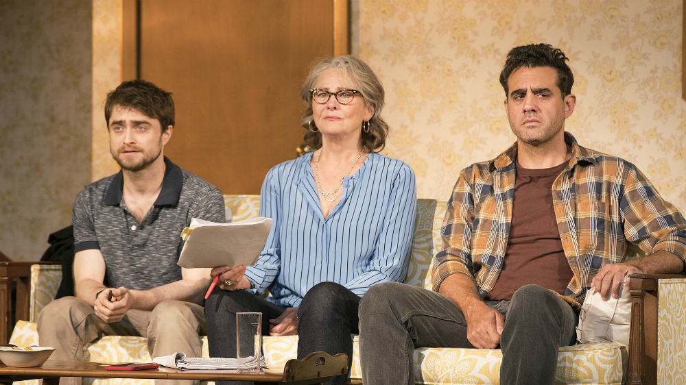 Daniel Radcliffe, Cherry Jones, and Bobby Cannavale in The Lifespan of a Fact. Credit: Peter Cunningham