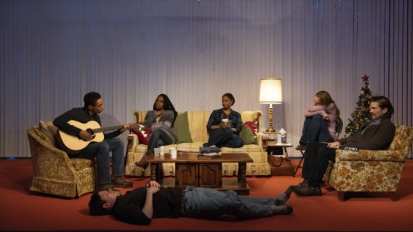 Kyle Beltran, Peter Mark Kendall (lying down), Kristolyn Lloyd, Nicole Lewis, Marin Ireland, and Chris Stack in Blue Ridge. Credit: Ahron R. Foster