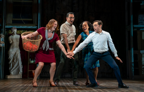 Jessie Austrain, Manu Narayan, Brittany Bradford and Ben Steinfeld in Merrily We Roll Along. Credit: Joan Marcus