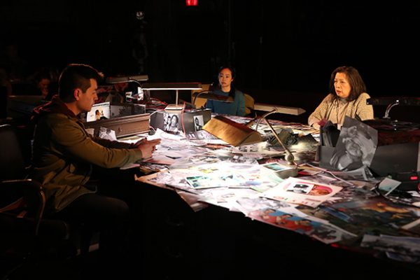 David Huynh, Mia Katigbak, and Eunice Wong in The Trial of the Catonsville Nine. Credit: Carol Rosegg