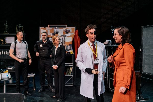 l-r, Tom Szymanski, Guebri Vanover, Bob Turton & Julia Finch in Dario Fo's The Accidental Death of an Anarchist at The Actor's Gang.