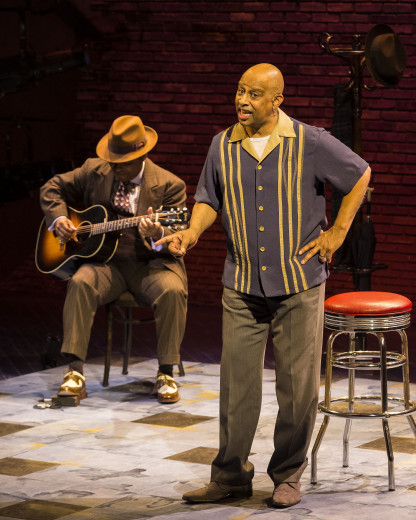 l-r, Chris Thomas King and Ruben Santiago-Hudson in Lackawanna Blues at the Mark Taper Forum.