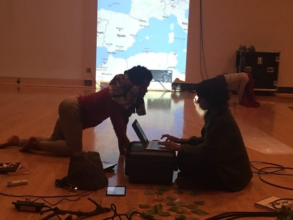 "Barry Brannum and Meena Murugesan in ""Oedipus/Antigone Project""."