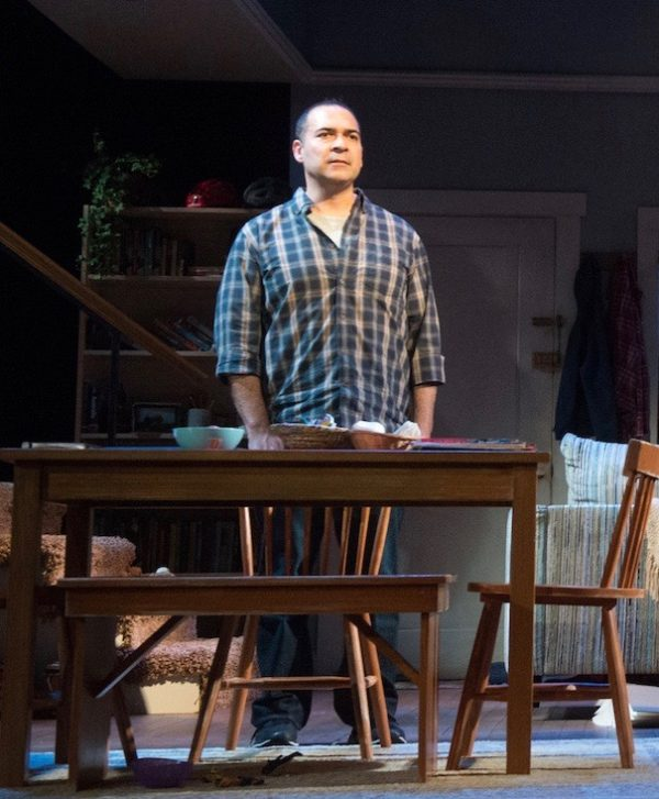 Teddy Cañez as the father who lost h his son in Tiny Beautiful Things at The Pasadena Playhouse.