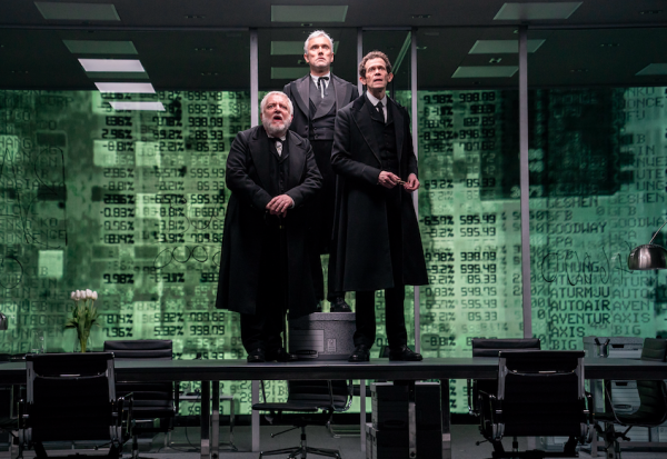 Simon Russell Beale, Ben Miles, and Adam Godley, in The Lehman Trilogy. Credit: Stephanie Berger