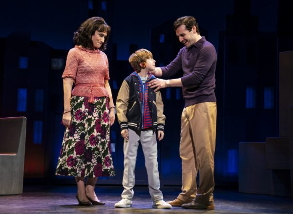 l-r, Eden Espinosa, Thatcher Jabobs and Max Von Essen in Falsettos at The Ahmanson Theatre.