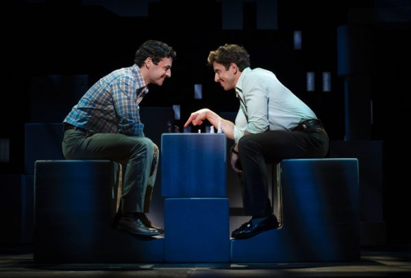 l-r, Max Von Essen & Nick Adams in Falsettos at The Ahmanson Theatre.