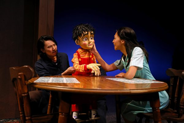 Eugene Young and Maureen Sebastian wit Little Man in Poor Yella Rednecks at South Coast Rep.
