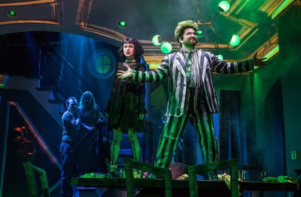 Rob McClure, Kerry Butler, Sophie Ann Caruso, and Alex Brightman in Beetlejuice. Credit: Matthew Murphy