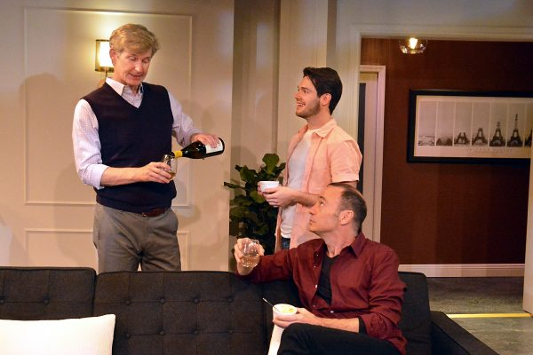 l-r. Bill Brochtrup, José Fernando & Tim Cummings (seated) in Daniel's Husband at The Fountain Theatre.