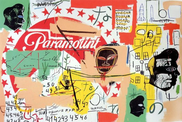 "Jean-Michel Basquiat and Andy Warhol, (ITAL) ""Paramount,"" acrylic on canvas. Private collection, (c) 2018 Jean-Michel Basquiat Estate, licensed by Artestar, New York. (c) The Andy Warhol Foundation for the Visual Arts Inc. / Artist Rights Society (ARS), New York."