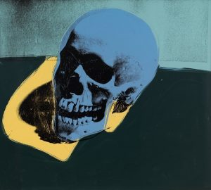 Andy Warhol, Skull, 1976, acrylic and silkscreen ink on canvas. Collection of Larry Gagosian, (c) The Andy Warhol Foundation for the Visual Arts Inc. / Artist Rights Society (ARS), New York.
