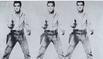 Andy Warhol, Triple Elvis (Ferus Type), 1963; acrylic, spray paint, silkscreen ink on linen. The Doris and Donald Fisher Collection at the San Francisco Museum of Modern Art, (c) The Andy Warhol Foundation for the Visual Arts Inc. / Artist Rights Society (ARS), New York.