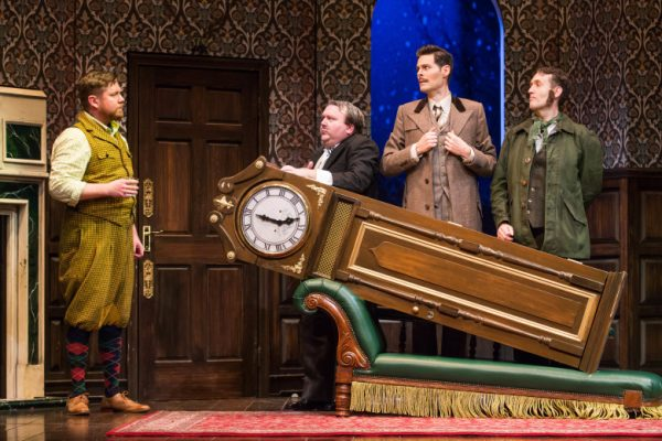 l-r, Peyton Crim, Scott Cote, Evan Alexander Smith & Ned Noyes in The Play That Goes Wrong at The Ahmanson Theatre.