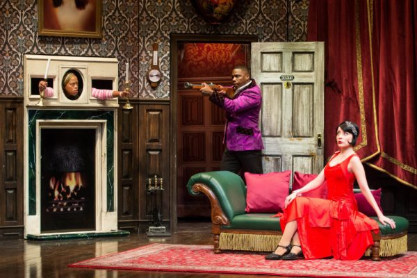 l-r, Angela Grovey, Yaegel T. Welch and Jamie Ann Romero in The Play That Goes Wrong at The Ahmanson Theatre.