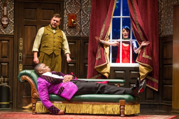 l-r, Peyton Crim, Yaegel T. Welch (lying down) & Jamie Ann Romero in The Play That Goes Wrong at The Ahmanson Theatre.