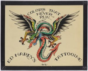 Don Ed Hardy, Colors That Never Run, undated, black ink and watercolor on illustration board, collection of the artist, (c) Don Ed Hardy.
