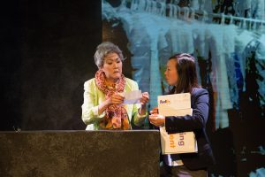 l-r, July Lee & Monica Hong in Hannah and the Dread Gazebo at The Fountain Theatre.