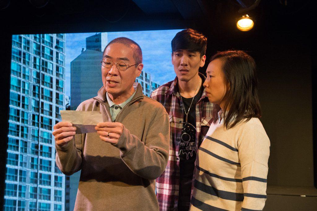 l-t, Hahn Cho, Gavin Lee & Monica Hong in Hannah and the Dread Gazebo at The Fountain Theatre.