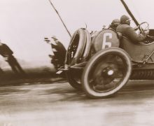 Jacques Henri Lartigue, Grand Prix of the Automobile Club of France, 1912, printed 1972, San Francisco Museum of Modern Art, Arthur W. Barney Bequest Fund purchase; (c) Ministere de la Culture, France / AAJHL.