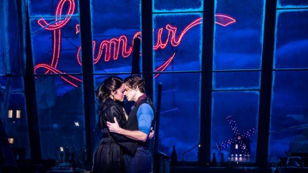 Karen Olivo and Aaron Tveit in Moulin Rouge. Credit: Matthe Murphy