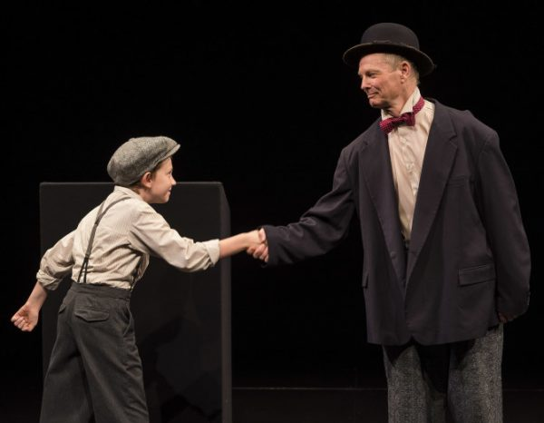 l-r, Benjamin Taylor, the only other actor to share the stage briefly with Bill Irwin in On Beckett at the Kirk Douglas Theatre in Culver City.