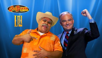Don Cheto, a beloved radio personality, interviewed Hillary Clinton running mate Tim Kaine. Photo courtesy LBI Media.