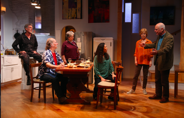 John Glover, Mark-Linn Baker, Ellen Parker, Jodi Long, Jill Eikenberry, and Mark Blum in Fern Hill. Credit: Carol Rosegg