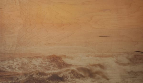 Ryan Linke, Storm Surge, Rice Paper + Ink + Plant Based Resin, 32x24 Pine Panel, 2018, Santa Cruz, CA