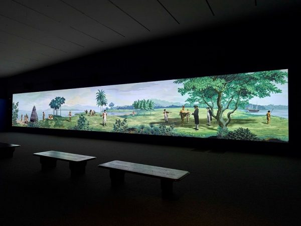 Lisa Reihana, installation view of In Pursuit of Venus [infected], de Young Museum, San Francisco, 2019; image courtesy of the Fine Arts Museums of San Francisco.