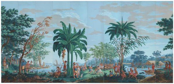 Joseph Dufour et Cie, printer, and Jean Gabriel Charvet, designer, Native Peoples of the Pacific Ocean, about 1804–06, block-printed opaque watercolor on paper, panels 8 and 16 reproductions by Garth Benton. Museum purchase, gift of Georgia M. Worthington and the Fine Arts Museums Trustees Fund; photograph by Randy Dodson; image courtesy of the Fine Arts Museums of San Francisco.