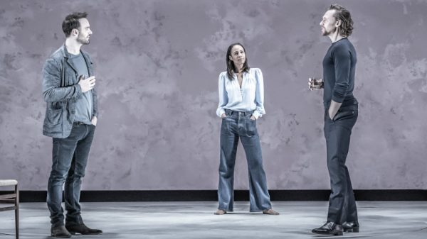 Charlie Cox, Zawe Ashton, and Tom HIddleston in Betrayal. Credit: Marc Brenner