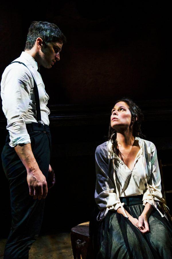 Evan Jonigkeit & Maura Tierney in Witch at the Geffen Playhouse.