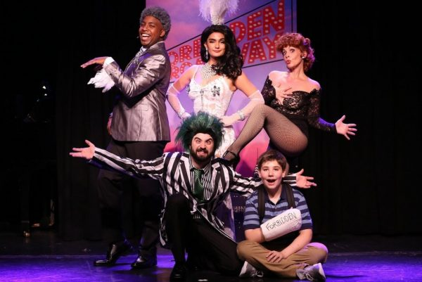 (Top row) Immanuel Houston, Aline Mayagoitia, Jenny Lee Stern, (seated) Chris Collins-Pisano, and Joshua Turchin in Forbidden Broadway: The Next Generation. Credit: Carol Rosegg