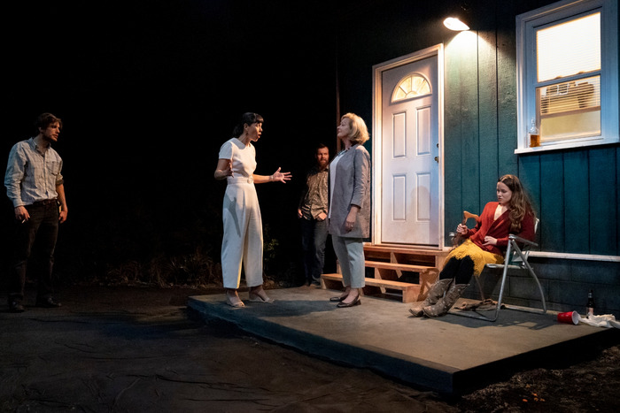 John Zdrojeski, Zoe Winters, Jeb Kraeger, Michele Pawk, and Julia McDermott in Heroes of the Fourth Turning. Credit: Joan Marcus