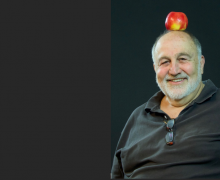 Jack Grapes with apple on head. Photo by Alexis Rhone Fancher